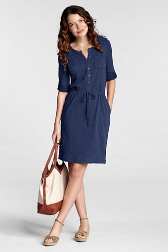Women's Regular Roll Sleeve French Terry 2-pocket Dress