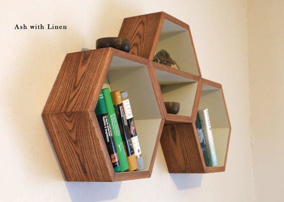 [[ Geometric Shelf Wood Hexagon Shelving by HaaseHandcraft on Etsy ]]