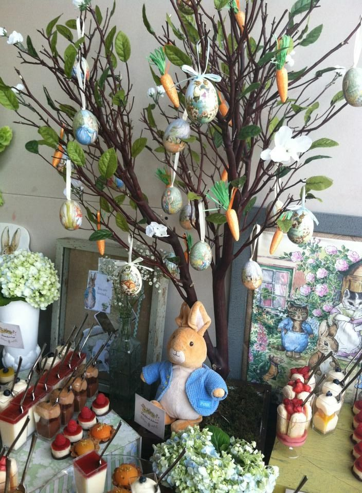 Peter rabbit childrens party dessert table - pottery barn kids tree decorations