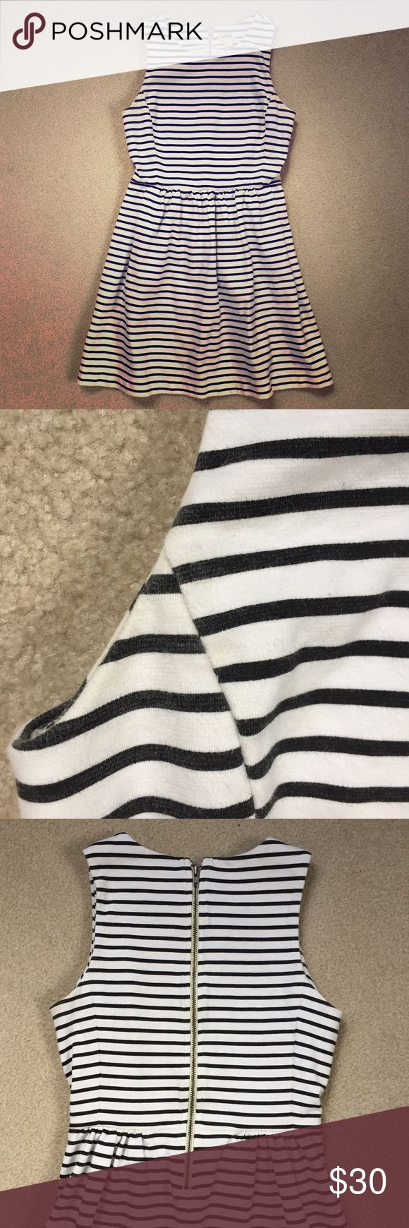J. Crew Striped Mini Dress J. Crew fit and flare dress in black and white stripes. Slight wear in the armpits but other than that, this dress is in great condition!! Works for winter with cardigan and tights!! Also perfect for spring and summer. J. Crew Dresses Mini