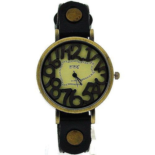 TOC Unisex Oxidised Metal Dancing Numbers Black Strap Watch SW-775