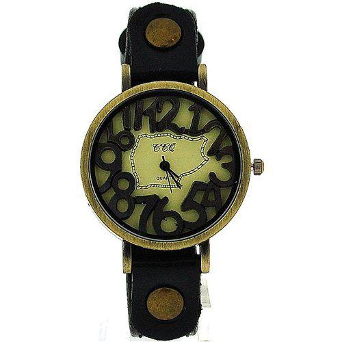 TOC Unisex Oxidised Metal Dancing Numbers Black Strap Watch SW-775