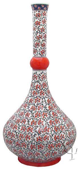 Iznik Design Ceramic Vase - Karanfil