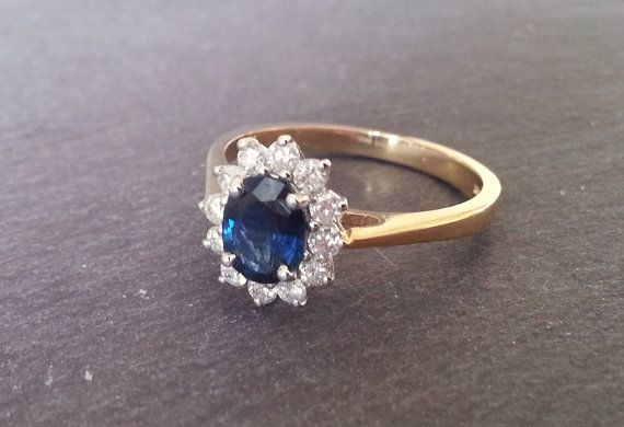 Kate Middleton Style Blue Sapphire Diamond Ring by ArahJames