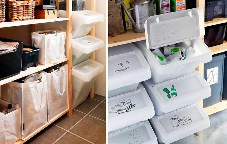 OVERSIKTLIG: Plastkasser eller tøyposer kan plasseres i hyller på kontoret eller i boden. Markerer du plastkassene får du bedre oversikt.