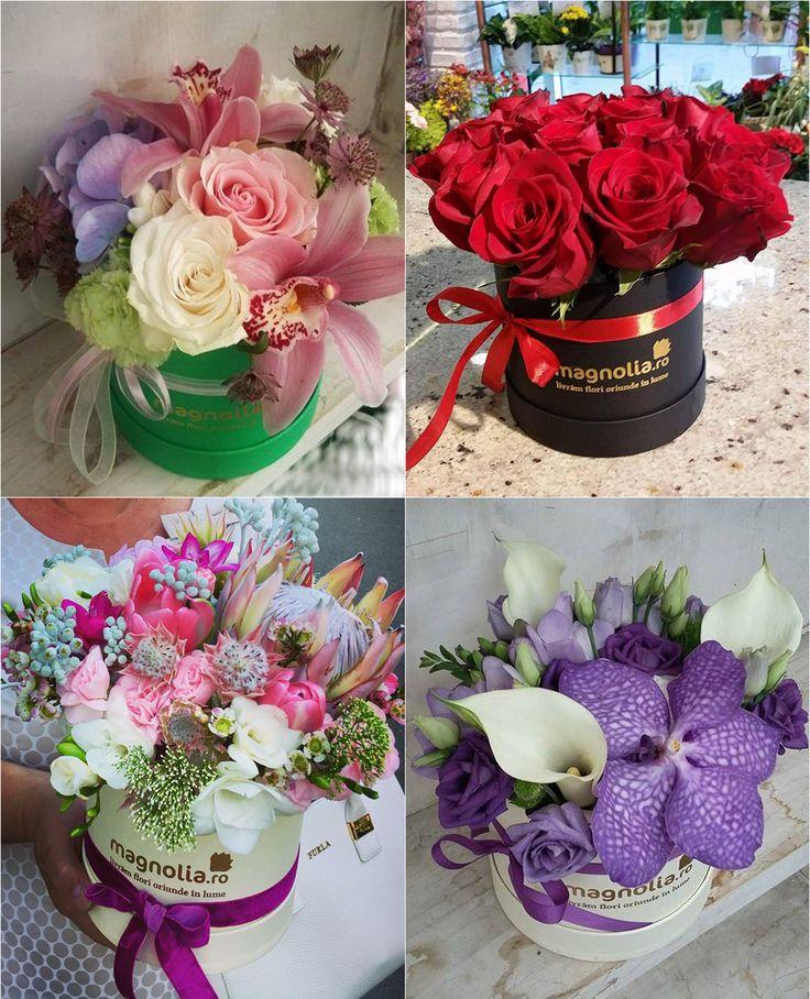 Aranjamente cu flori in cutie; Flower arrangement in a box. Roses, lilies, orchids, freesias, calla lilies