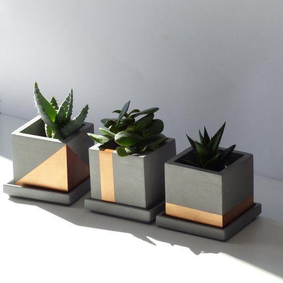 Atelier Ideco Set Of 3 Copper Concrete Planters With Drainage Holes And Saucers Concrete Planters Flower Pots Planters