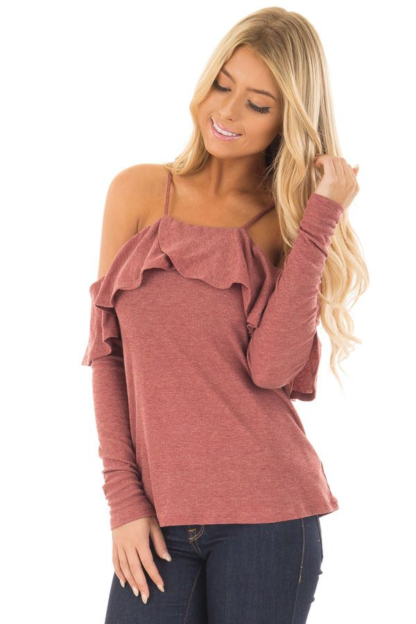 19a8f4c9c88b6 Lime Lush Boutique - Rust Long Sleeve Cold Shoulder Top with Ruffle Details