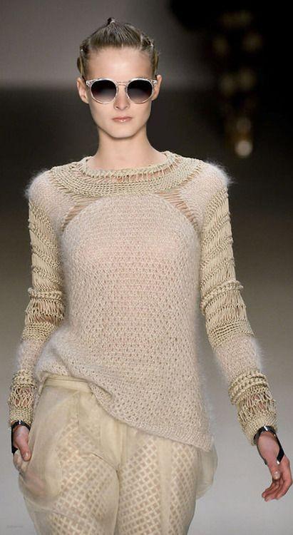 Interesting use of texture in a monochromatic sweater. David Tomaszewski