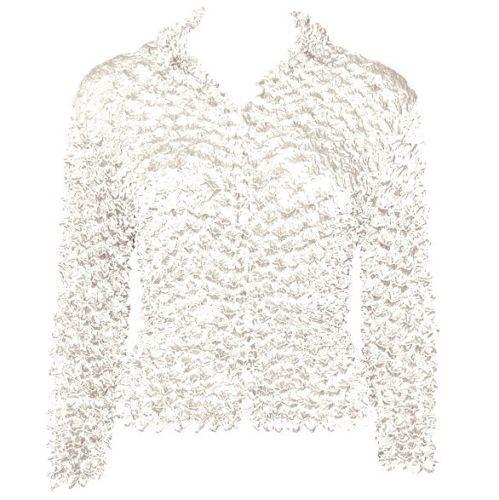 WHITE SHINY-LIQUID-SATIN-Button-BLOUSE-Top-Popcorn-Shirt-White-Colors-FITS-L-1X-2X-3X
