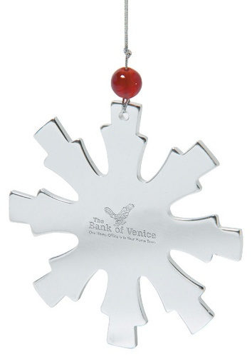 Holiday Cheer - Snowflake Shaped Ornament    Stainless steel snowflake shaped ornament with bead accent.  Includes laser engraving in 1 location.