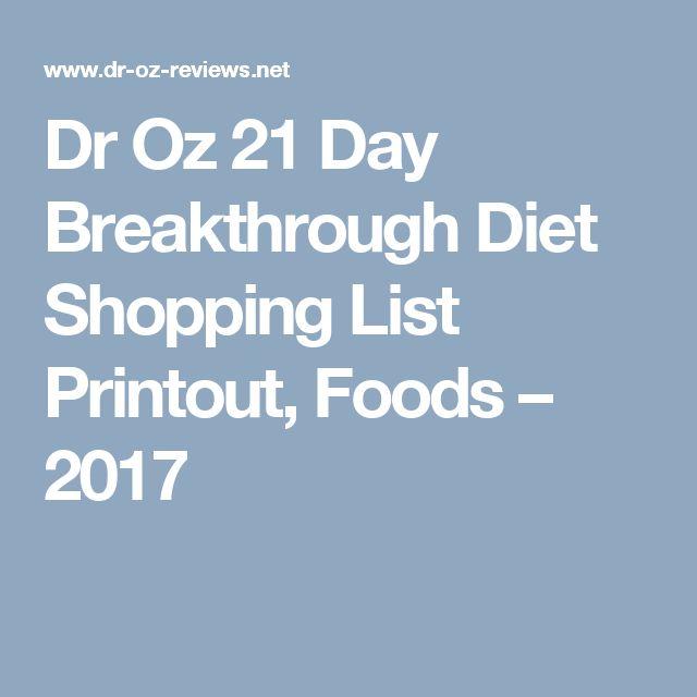 Dr Oz 21 Day Breakthrough Diet Shopping List Printout, Foods – 2017