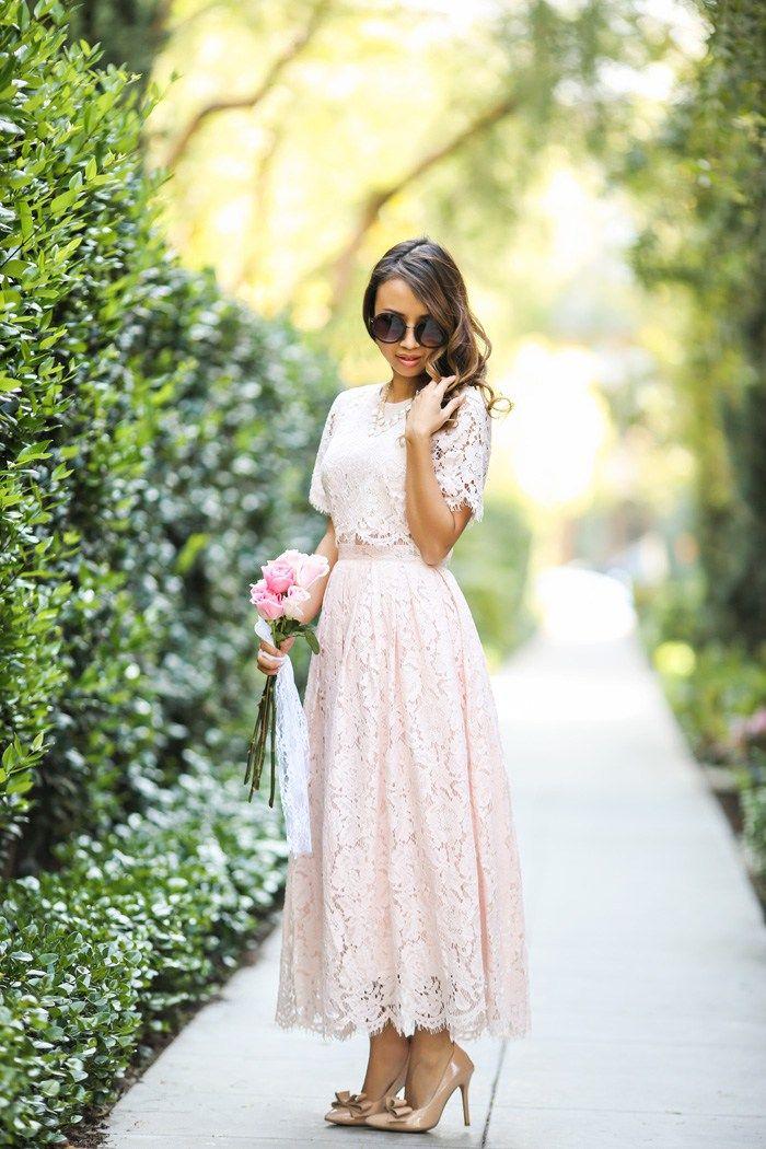 Blush Wedding Dress Petite : Lace midi dress prom asos blush