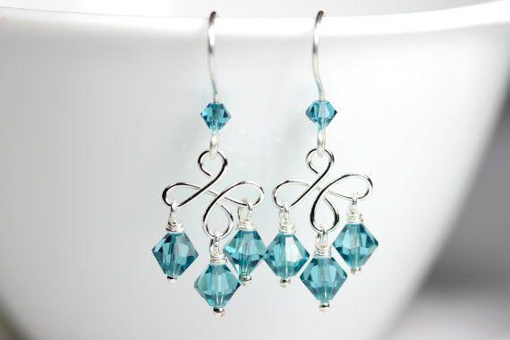 Blue Chandelier Earrings Wire Wrapped Jewelry by JessicaLuuJewelry, $30.00