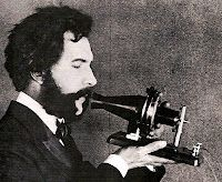 March 7, 1876; Alexander Graham Bell patents the telephone. Here he is showing a prototype of a working phone.