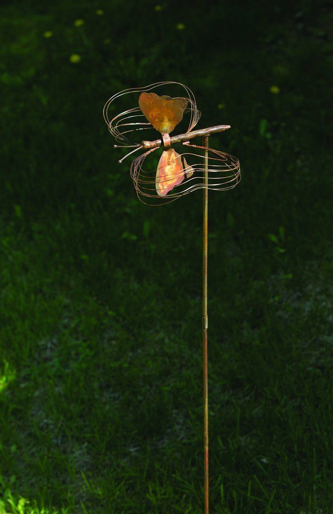 Metal Garden Art Erfly With Spinning Wings Stake Spinner Brings Kinetic Motion And A Flash Of Iridescent Color To Your Yard Flowerbed