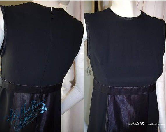 dress retro style black crepe cuts trapeze and empire cut