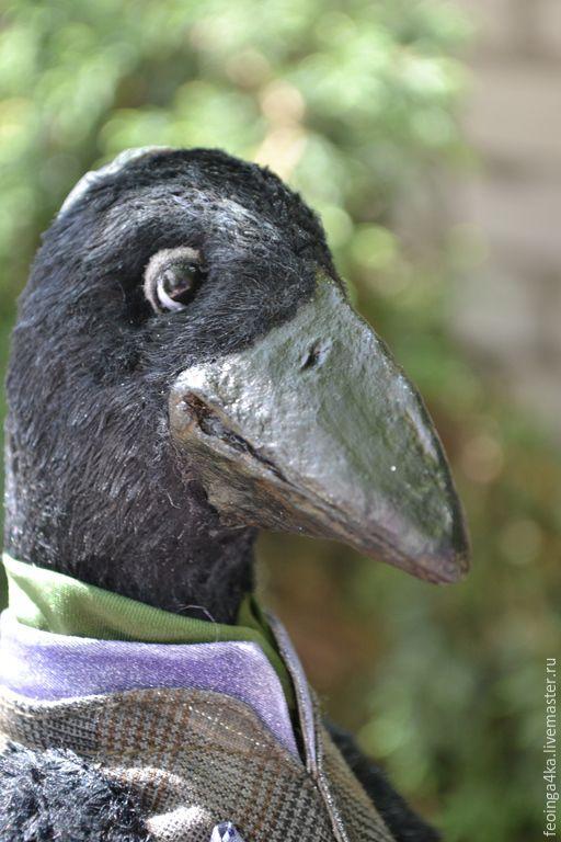 Купить Мудрый ворон. - ворон, мудрость, черный, птица, подарок, коллекционная кукла, папье-маше