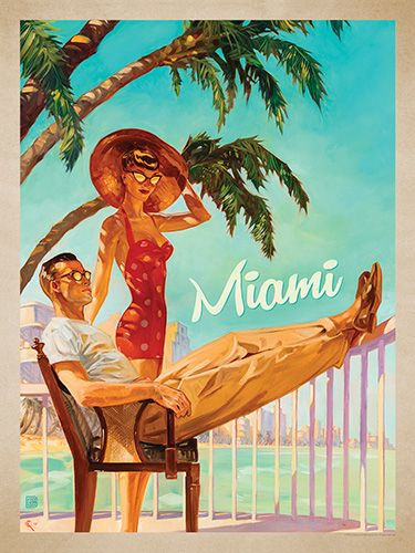 A Miami Moment - This series of romantic travel art is made from original oil paintings by artist Kai Carpenter. Styled in an Art Deco flair, this adventurous scene is sure to bring a smile and a smooch to any classic poster art lover!<br />