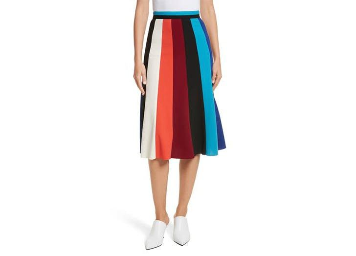tracy reese colorblock midi skirt
