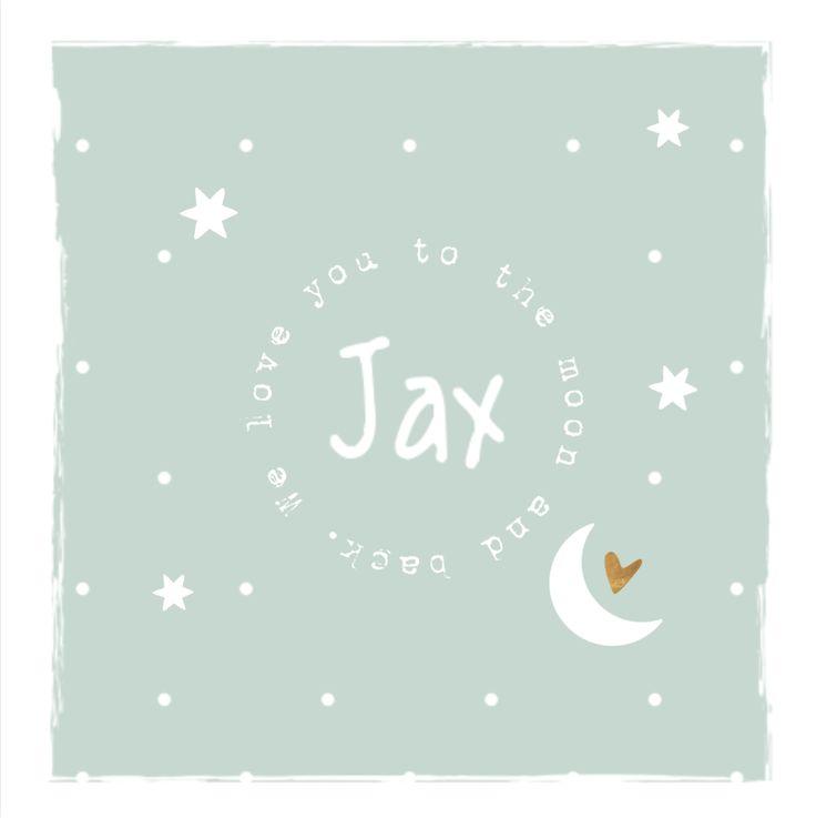 lovz | Gaaf geboortekaartje voor een jongen is een hippe mint groene tint. Met wit kader rondom en een stempel met het versje van de 'moon'. Met sterren, maan, stippen en koper kleurig hartje. Super hip...