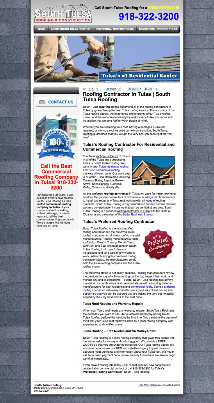 Website Built For A Local Roofing Company In Tulsa, South Tulsa Roofing.  Website Designed