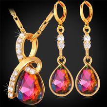 Conjunto de Brincos E Colar de Pingente de Gota de Cristal de luxo Para As Mulheres da Cor do Ouro Da Dama de Honra Nupcial Set Jóias PE1165(China (Mainland))