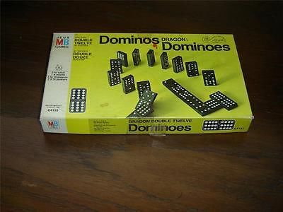 "#Vintage 91 piece #Milton_Bradley #Dragon #Dominos in box #mint_condition  Each Domino measures 1 3/4"" (4.4 cm) high x 7/8"" (2.2 cm) wide x 5/16"" (.8 cm) thick   Original play sheet included   These items are in mint condition and don't appear to have ever been used   Made in Canada by Milton Bradley   The box is fully intact but shows some soiling and marks from usage   These items have no nicks, chips, cracks, or signs of repair    11232013RITT323"