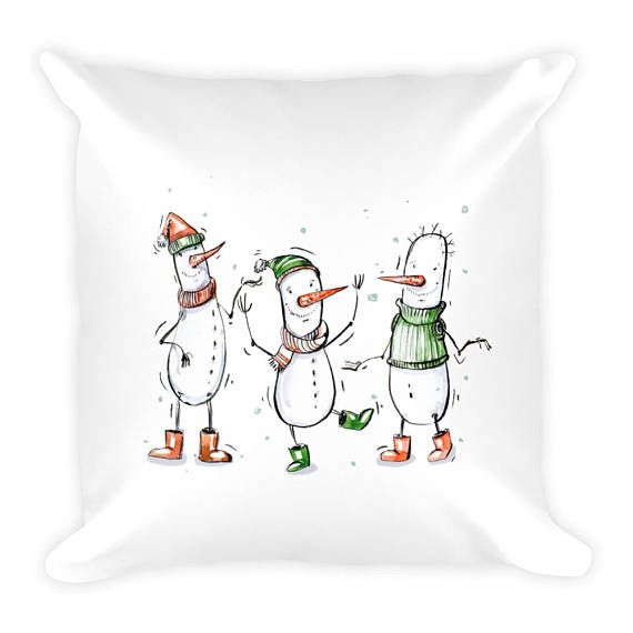 18 x 18 Three Snowmen on White Background Couch