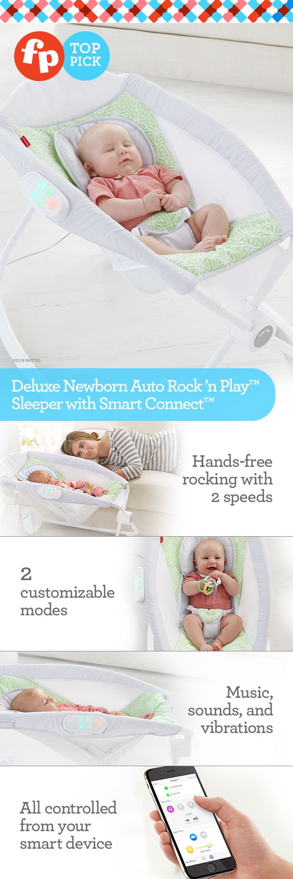 Sleeper & playtime rocker in one! Late nights. Middle of the nights. Early mornings. Mid-day meltdowns. Nothing a cozy sleeper with just-the-right angle and plush fabrics can't help. With the addition of hands-free rocking with two speeds, two customizable modes, music, sounds and vibration, this is the ultimate sweet dream machine. Simply download the Smart Connect™ app to activate gentle, hands-free rocking or to turn on the calming music without disturbing baby.