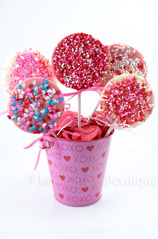 10 My Sweet Valentine Solid Chocolate Lollipops