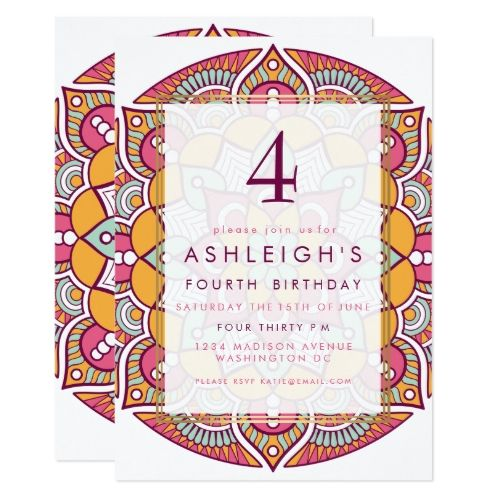 Boho Birthday Card Invitations Pink, Teal, Orange Boho Mandala   Birthday Party Card