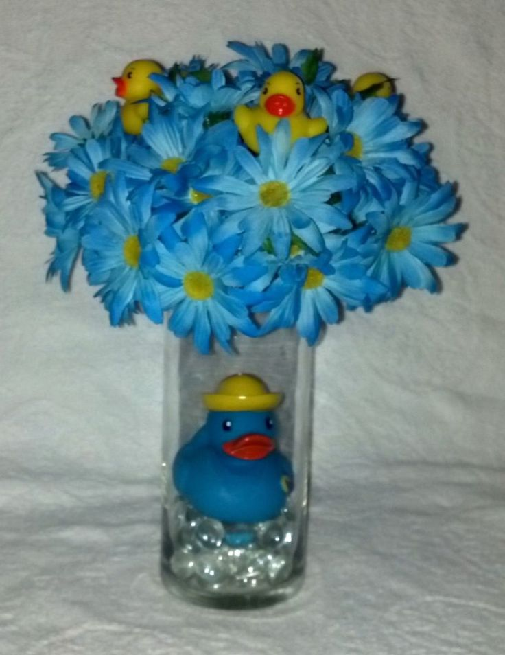 baby shower silk mini daisies rubber duck centerpiece for a baby boy