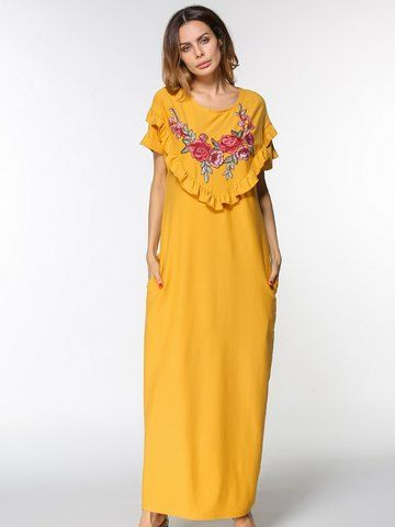 Casual Embroidered Flouncing Short Sleeve O-neck Maxi Dress For Women