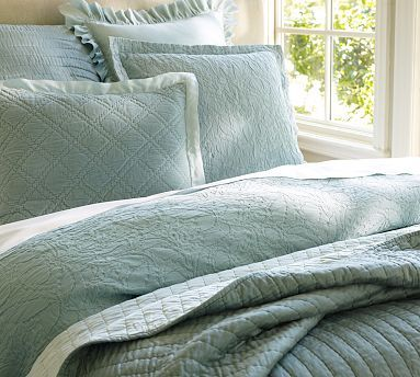 Rustic Luxe™ Bedding Ensemble - Blue     This duvet and Sham set has a subtle pattern to give a little personality to the bedroom, without taking control of the room. I like the Duvet and Euro shams with a white sheet set underneath