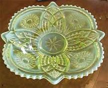 """EAPG Northwood Diadem better known as """"Sunburst-in-Shield"""".  This canary opalescent vaseline is rarely found."""