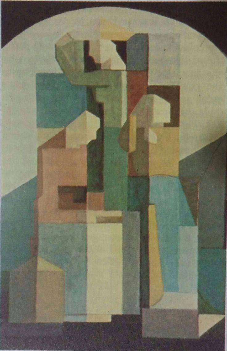 Halil Dikmen: Kübik Kompozisyon. Tuval uzerine yagliboya. 122× 87cm. Istanbul resim ve heykel muzesi