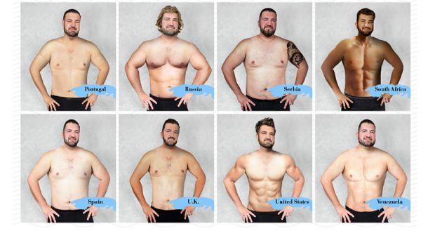 19 países revelan cómo es el cuerpo perfecto en un hombre