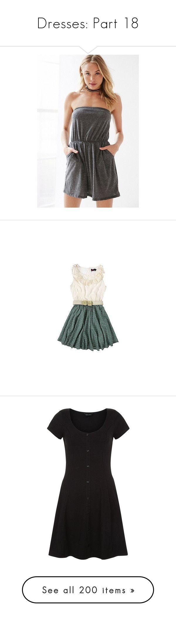 """Dresses: Part 18"" by nerdbucket ❤ liked on Polyvore featuring dresses, short strapless dresses, short tube dress, flare dress, stretch dresses, skater skirt, vestidos, vestiti, short dresses and yumi dresses"