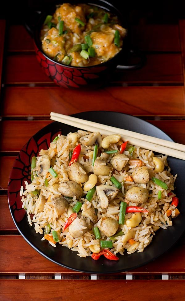 Mushroom Fried Rice Recipe – Easy stir fried rice made in indo-chinese style in less than 30 mins #mushroom #main.