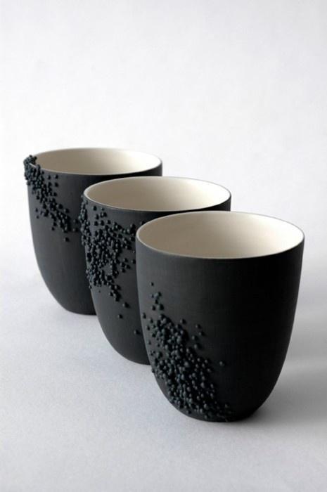 MATTE BLACK CERAMIC CUPS - cluster slip-trailed dots