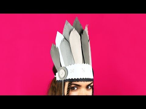 This DIY tutorial will help you to make a paper feather indian headdress. This amazing decoration can be a nice accessory for kid's masquerade costume! #indianheaddress #paperfeather #masqueradecostume
