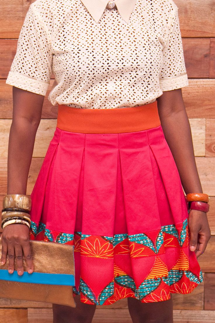 Totally Ethnik Basics Collection, Ready-to-wear Modern African Skirt, with pique fabric mixed with african print
