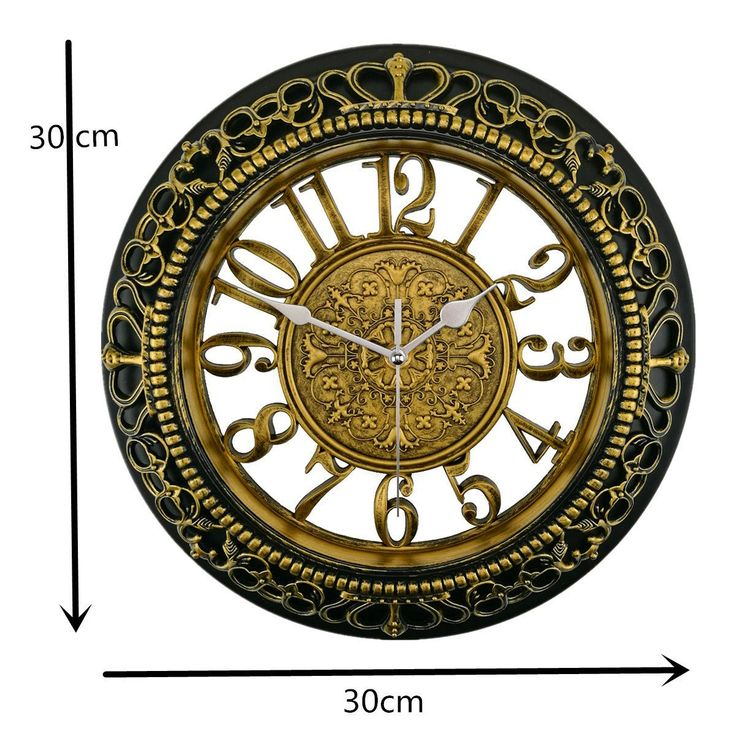 Retro Wall Clock Foxtop 12 Inch Silent Wall Clocks European-style Vintage Retro Antique Royal Style Resin Wall Clock, Creative Home Living Room Boutique Antique Hotel Mute Wall Clock (Gold)