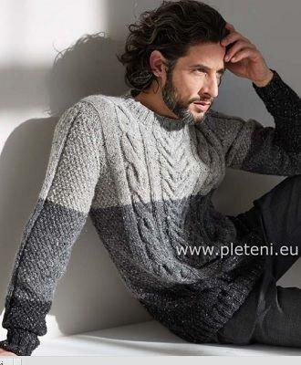 Šedo-šedý svetr Irish Tweed | PLETENÍ – NÁVODY