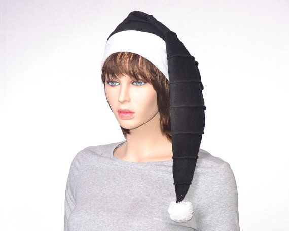 Santa Hat Black on Black Stripe with White Faux by MountainGoth