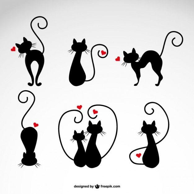 Em ilustrações gatos do amor do vetor Vetor grátis