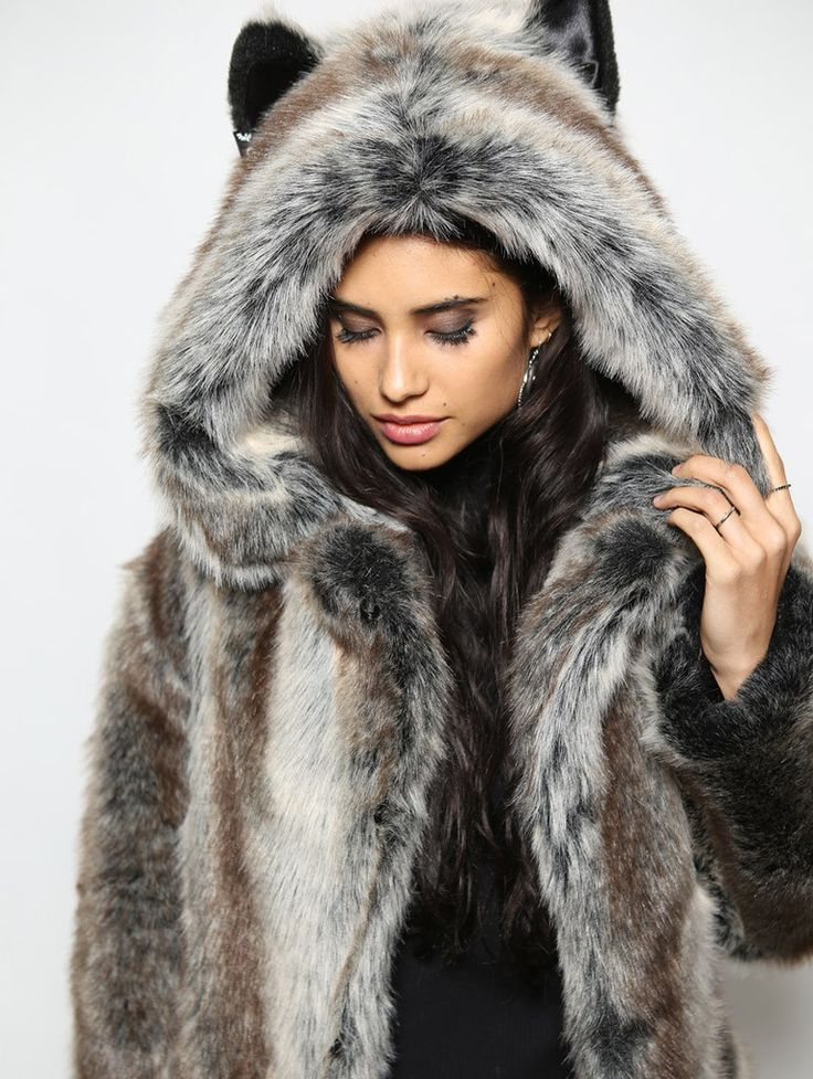 Classic Grey Wolf Faux Fur Coat In 2019 Mostly Faux