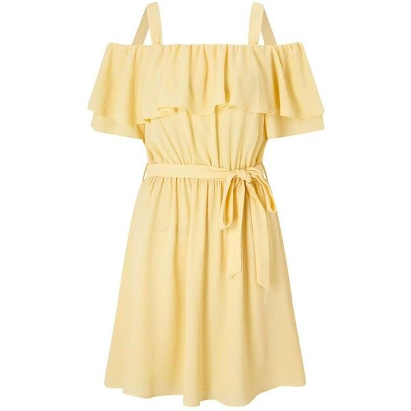 Miss Selfridge Ruffle Cold Shoulder Dress ($49) ❤ liked on Polyvore featuring dresses, yellow, yellow dress, cold shoulder dresses, cut-out shoulder dresses, short dresses and ruffled dresses