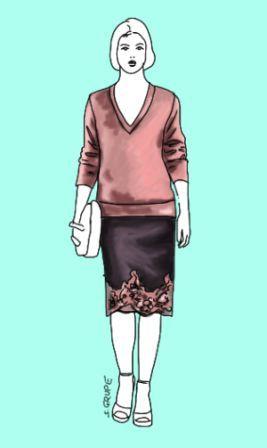 Der lange Pullover über dem Rockbund überspielt eine hohe Taille, die Spitzenborte am Rocksaum zieht den Blick nach unten, auf tolle Beine u...